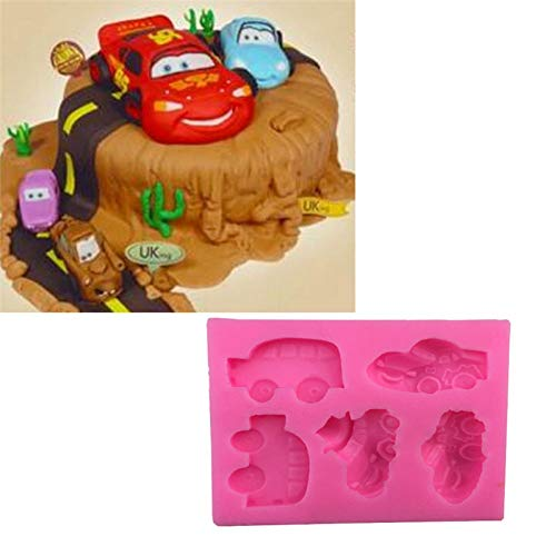 HUIZHANG 5Pcs Cartoon Car Shape Silicone Cake Mold,Cookie Ice Jelly Chocolate  Baking Mould Sugar Craft Fondant Cake Decorating Tools