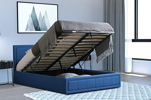 Home Treats Navy Upholstered Ottoman Bed Frame with Gas Lift & Under Bed Storage (Double 4ft 6, No Mattress)