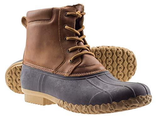 ArcticShield Mens Durable Waterproof Insulated Rain Snow Duck Bean Boots (11 M US Mens, Tan)