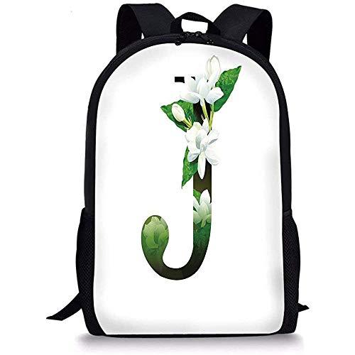 Mei-shop Mochilas Escolares Letra J Arreglo Floral Abstracto J Silueta y Flores de jazmín Concepto ABC Verde Blanco Negro