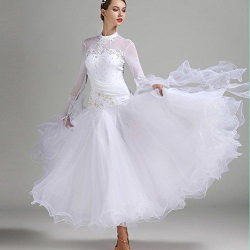 Women Multi Colors Diamond-Mounted Exquisite Decals Fringe Luminous Foxtrot Waltz Competition Standard Ballroom Dress (M, White)