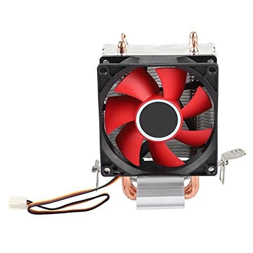 Mini ventilador de refrigeración para PC, tubo de calor en forma de U, ventilador de caja, alta eficiencia y bajo consumo de energía, caja de computadora con 2 tubos de cobre, buena disipación de calo