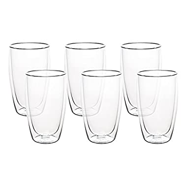 Nellam Double Walled Glass Mugs - Set of 6, 16oz Thermo Insulated Coffee Cups - Keeps Drinks Hotter for Longer - Ideal Tumbler for Cappuccino, Espresso, Latte, Tea, Whiskey, and Wine