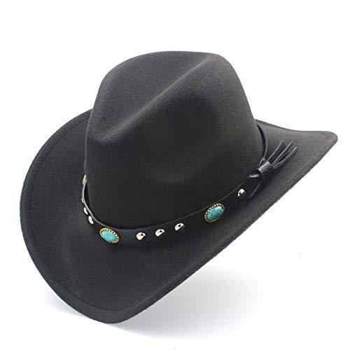 Jdon-hats, Womens Fashion Western Cowboy Hat with Roll Up Brim Felt Cowgirl Sombrero Caps(56-58CM) Black