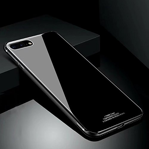 Hard Rigid Tempered Glass Back Cover for iPhone 7 Plus/8 Plus, Aearl Pure Color Crystal Clear Plastic Interior Dual Layer Anti Slip TPU Case with Screen Protector for iPhone 8 Plus/7 Plus - Black