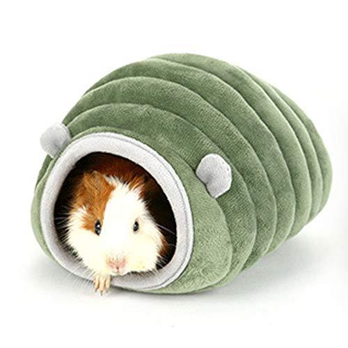 HanryDong - Cama cálida de invierno para hámster, diseño de animales pequeños, algodón, se puede lavar a máquina, se puede ocultar cómodamente, color gris y verde