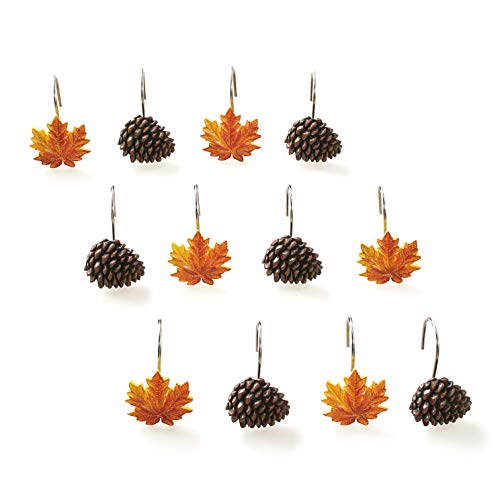 The Lakeside Collection Autumn Forest Shower Hooks with Pine Cones, Maple Leaves for Curtains - 12 Pcs.