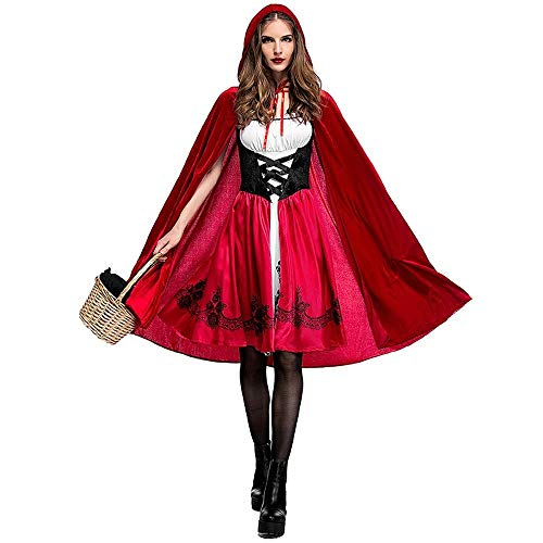 Uteruik Disfraz de caperucita roja para mujer, con capa con capucha para cosplay para fiesta de Halloween (L)