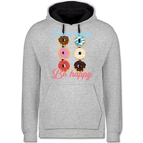 Shirtracer Sprüche - Donut Worry be Happy blau/rosa - L - Grau meliert/Navy Blau - Happy - JH003 - Hoodie zweifarbig und Kapuzenpullover für Herren und Damen