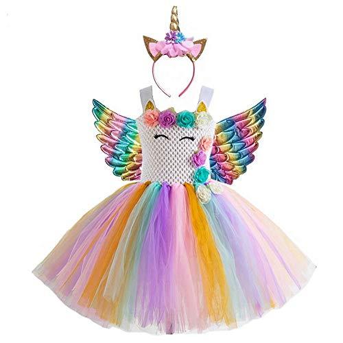 Meisjes Feestjurk Prinses Eenhoorn Kostuum Fancy Aankleden Kinderen Ballet Tutu Tule Jurken Bloemen Regenboog Aankleden Verjaardag Bruiloft Halloween Kerst Jurken