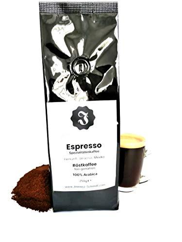 Spezialitätenkaffee aus Mexiko  Espresso fein gemahlen  Sortenrein 100% Arabica  Langsame Trommelröstung  Säurearm  Frische Ernte  Ideal für Siebträger  Ohne Zusatzstoffe  250g Packung