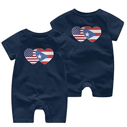 Monos sin Mangas para bebé Puerto Rico Bandera de EE. UU. Corazón Gemelo Bebé recién Nacido Mameluco de Manga Corta Mono Pijama para niños 0-24 Meses
