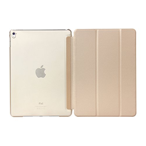 Neu 2018 / 2017 iPad 9,7 Zoll Hülle und iPad Air Hülle - L2W [Ultra Slim] Merge Frosted Back Magnetic Cover mit Stand & Smart Cover Auto Wake Sleep On / Off Ganzkörper Schutz Hülle - Champagner Gold