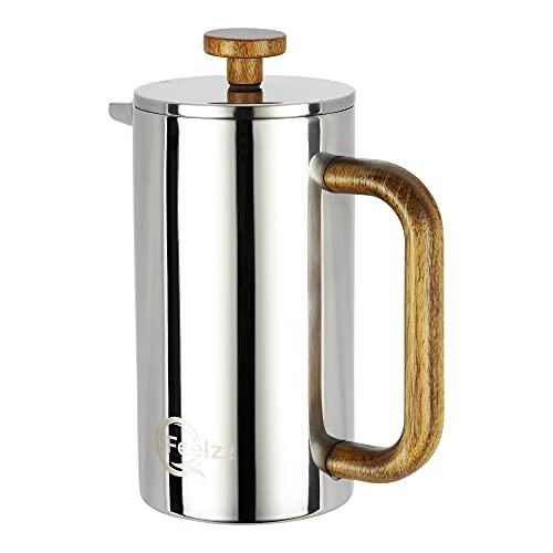 French Press mit stylischem Akazien-Holz - hochwertiger Kaffeebereiter inkl. Ersatzfiltern [600ml] – Silber hochglanzpolierter, doppelwandiger Edelstahl
