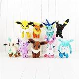 Set of 9 Eevee Evolutions Plush Toys, Pokemon Eevee Umbreon Jolteon Leafeon Espeon Flareon Glaceon Evolution Plush Stuffed Animals Plush Toys