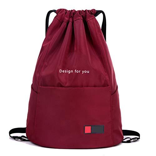 LTJLWB-backpack Sac à Dos en Nylon LéGer pour Hommes Et Femmes, Rouge Et ImperméAble, Grande Capacité