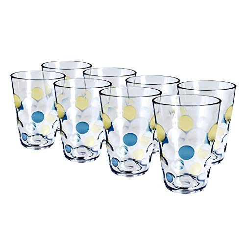 Plastic Water Tumblers, 12-ounce Acrylic Break-Resistant Drinking Glasses Dishwasher Safe Bathroom Cups Stackable Juice Glasses| Clear Set of 8 (Blue)