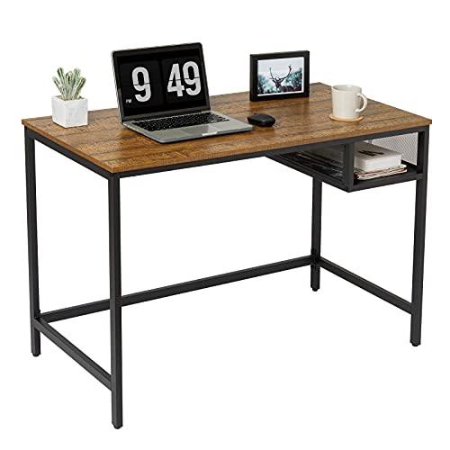 Meerveil Schreibtisch, Arbeitender Computertisch, Gaming Schreibtisch, 110x55x76cm, Schreibtisch mit Schubladen, Lernen Arbeitstisch, Bürotisch im Industriestil, Schlafzimmer, Wohnzimmer