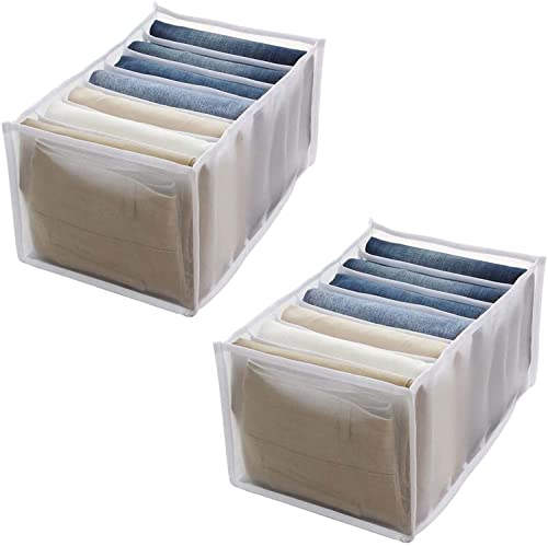 Organizador de ropa de armario,caja de almacenamiento de armario apilable, organizador de ropa de armario lavable de 7 rejillas para pantalones, pantalones vaqueros, camiseta, legging (2Pcs Medium)