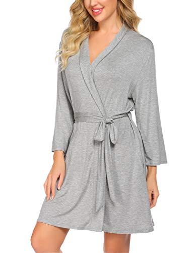 Unibelle - Albornoz de mujer con mangas tres cuartos, kimono, bata para sauna, ropa de noche agradable con cuello en pico pronunciado y cinturón, tallas S-XXL gris XL
