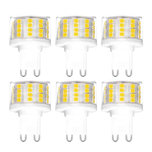 ONLT 6PCS dimmerabili G9 9W lampade, 4000K 950 LM 88X2835 SMD,CRI >80,Sostituzione 90W Alogena,ceramica lampada LED Luce Naturale, AC 220-240V, 360 ¡ã angolo di visuale,lampadine LED,lampadina LED