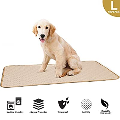 Washable Large Pee Pads for Dogs, 4 Layers Waterproof/Soft/Super Absorbing/Anti-Slip Machine Washable Dog Training Puppy Wee Whelping Pad for Home Apartment Crate Travel 100x67cm, Beige (1 Pack)