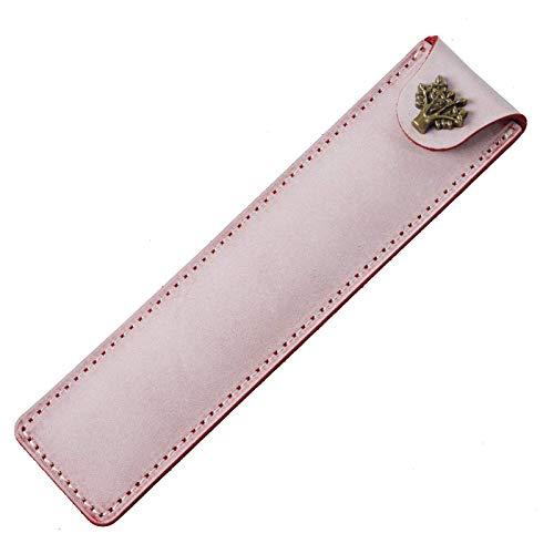 YLLAND Soporte de Pluma de Cuero Genuino Hecho a Mano Pluma de Pluma Bolsa de lápiz para Pluma Pluma Funda de lápiz Simple (Color: Rosa, tamaño: 16x4cm) LNNDE (Color : Pink, Size : 16x4cm)