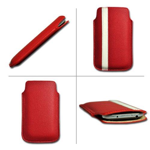 Handy Tasche Etui Hülle Einschubtasche Kunstleder rot / weiß W8 Gr.4 für Nokia Lumia 900 / Huawei Ascend D quad / Huawei Ascend D quad XL / Sony Xperia Ion / Huawei U9200 Ascend P1 / Samsung Galaxy S2 i9210 LTE / Samsung Galaxy Nexus / Base Lutea 2 - 4