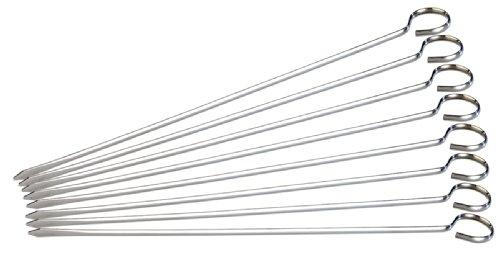 Rosenstein & Söhne Schaschlikspieße Metall: Schaschlik-Grillspieße aus Edelstahl im günstigen 8er-Set, je 31 cm (Schaschlikspieße Edelstahl)