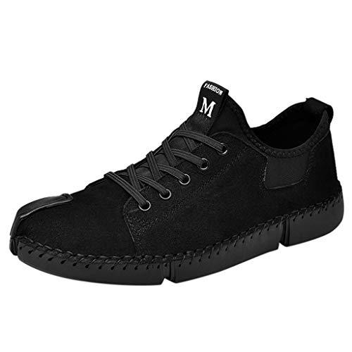 Männer Lederschuhe Freizeit Hand nähen Herren Schnürhalbschuhe Freizeit Bequeme Outdoor Lazy Schuhe British Style Freizeitschuhe Flache Turnschuhe Herren Schuhe, Schwarz