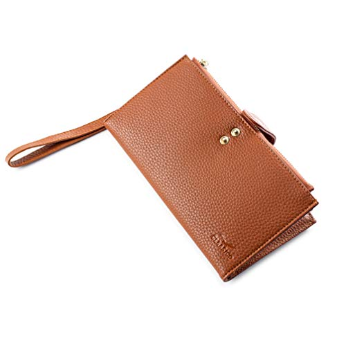 Women's RFID Blocking Bifold Wallet | Multi Card Organizer with Zipper Pockets & Wristlet Strap