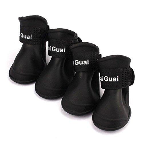 SODIAL 4pzs Zapatos botas impermeables de lluvia de perro Accesorios para perro de mascota Tamano medio (Negro, M)