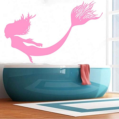Schönheit Meerjungfrau Vinyl Dekoration Wandaufkleber Salon Meerjungfrau Nymph Girl Segel Meer Natur Fisch Kinderzimmer Dekor Wandbild 43 * 69 cm