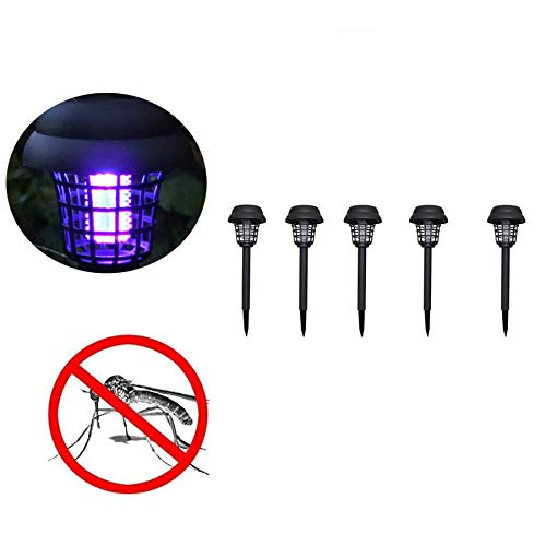 Naiflowers 5PC Solar Powered LED Light Mosquito Zapper Bug Killer Insect Killing Lamp Indoor Outdoor Ground Backyard Garden Patio Lawn Best Stinger Moth Fly Solar Powered Pest Light