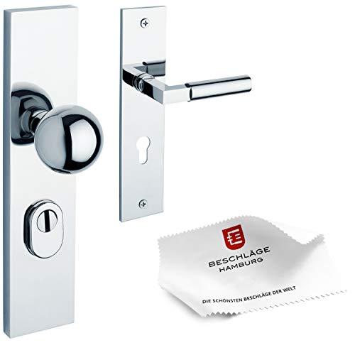 Herraje Hamburg - Manillas de puerta de entrada de casa GRO PRIME SH 245-02Z MPC 72 - Picaporte de seguridad para la puerta de entrada de vivienda, herraje de puerta, cromo pulido