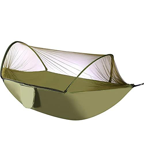 YIBAIYI Hamaca para Acampar con Red, Mosquetones Premium Hamaca De Nailon, Hamaca para Acampar Portátil Ligera (Ejercito Verde)