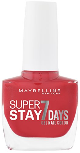 Maybelline New York Make-Up Super Stay Nailpolish Forever Strong 7 Days Finish Gel Nagellack Forever Red / Farblack mit ultra starkem Halt ohne UV Lampe in leuchtendem Rot, 1 x 10 ml