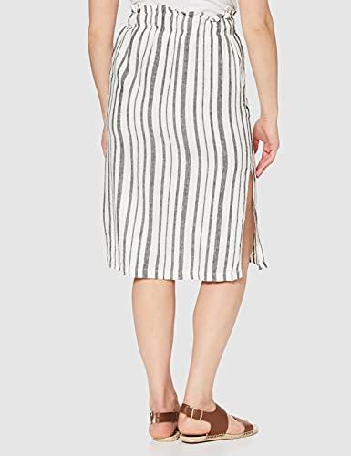 Marca Amazon - find. Falda Midi para Verano Mujer, Multicolor (BLACK /WHITE STRIPE), 40, Label: M