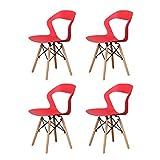 Sedia da pranzo moderna in plastica stile minimalista con gambe in ferro per cucina, sala da caffè, soggiorno, ristorante set di 4 (rosso, 4)