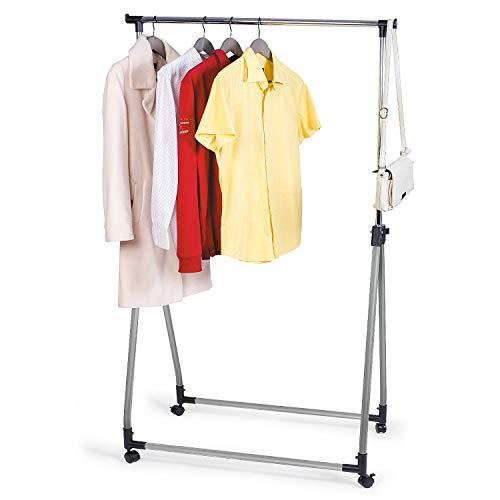 Tatkraft HALLAND | Stabiler Kleiderständer, Rollbare Kleiderstange Mobil | Stahl, PVC Schwarz | Platzwunder, Verstellbar | Maße: 99-167x89x49 cm