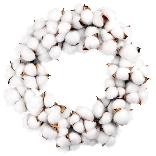 12 Inch Cotton Wreath Cotton Boll Wreath Rustic Wreaths for Front Door Wedding Decoration
