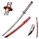 Sword Fort Handmade Japanese Katana Samurai Sword, 1045 Medium Carbon Steel,Sharp Knives, Fantasy, Akame Murasame Katana Anime Sword, Red