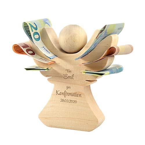 Casa Vivente Engel aus Erlenholz mit Gravur zur Konfirmation, Personalisiert mit Namen und Datum, Verpackung für Geldgeschenke, Konfirmationsgeschenk