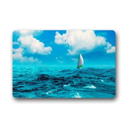Felpudo (Barco en Ocean bajo el Cielo Azul Felpudo Alfombra para Interiores/Exteriores/Puerta Delantera/baño mats Felpudo (23,6x 15,7cm)