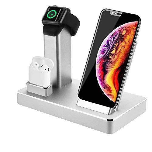 Station de Charge sans Fil Aluminium Chargeur Induction 3 in1 Stand pour iphone 11 Pro XS Max X Support de Recharge...