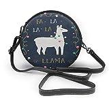 Just life Cartoon Llama Alpaca Christmas Vintage Crossbody Round Leather Bag Borse Borsa Messenger Bag per le donne