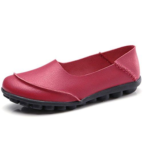 Hishoes Mocasín de Cuero Mujer Loafers Cómodo y Antideslizante Barco Zapatos...