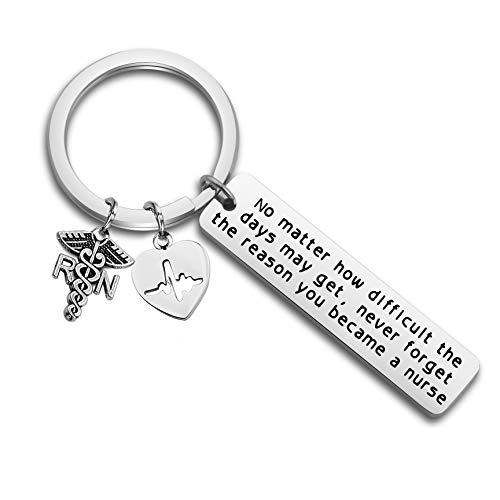 Nurse Gift Nurse Keychain RN Charm Nursing Graduation Gift Medical Jewelry Nurse Inspirational Gifts (silver, st)