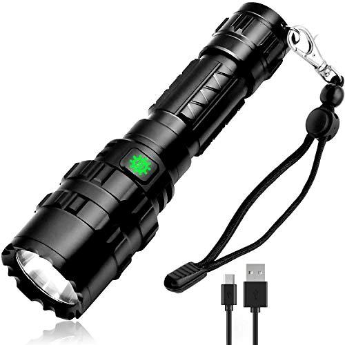 COOF Lampe Torche LED Puissante, Lampe de Poche Zoomable et Rechargeable 5 Modes Eclairage, Idéal pour Les Activités Extérieurs ou Bricolage à la Maison