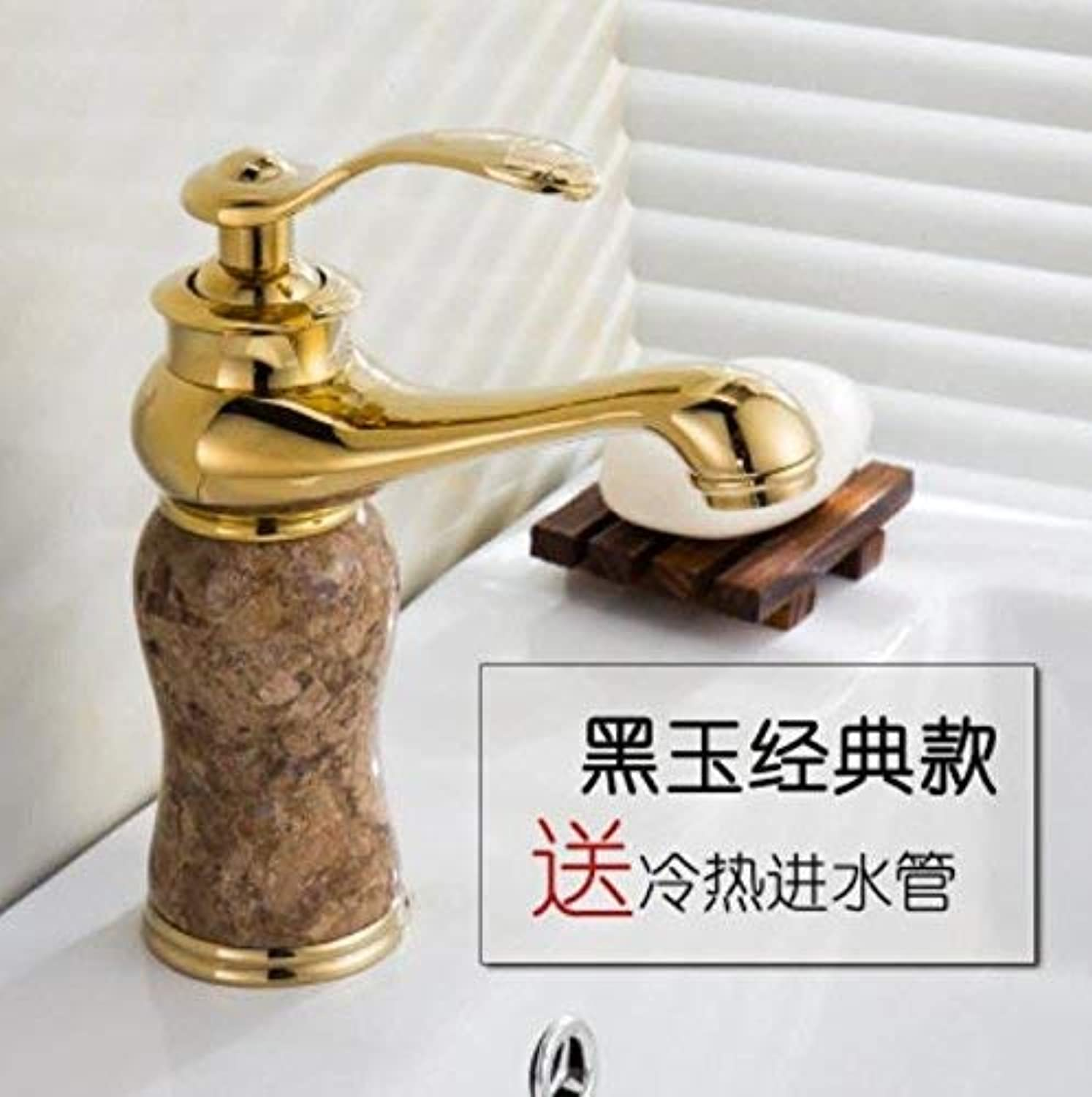 Yingsssq European Faucets, All Copper, gold, Jade, Basin, Cold and Hot Basins, Washbasins, Toilet, Antique Ceramic, Spool and Hose. (color   -, Size   -)